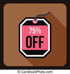Sale tag 75 percent off icon, flat style - Sale tag 75...