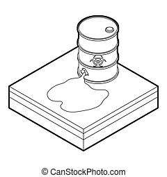 Drawing of Toxic waste spilling from barrel, isolated on ...