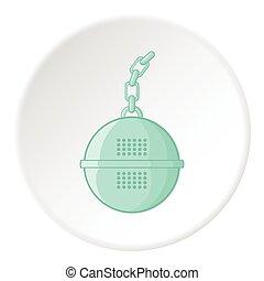 Round tea strainer icon, cartoon style - Round tea strainer...