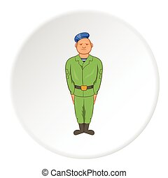 Paratrooper icon, cartoon style - Paratrooper icon in...