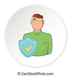 trauma, cabeza, de, hombre, y, señal, seguridad, icono