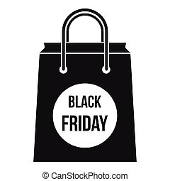 Black Friday shopping bag icon, simple style