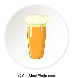 Glass of beer icon, cartoon style