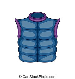 Winter quilted waistcoat icon, cartoon style - Winter...