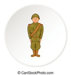 Soldier icon, cartoon style - Soldier icon in cartoon style...