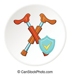 Walking stick and sign safety icon, cartoon style