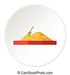 Childrens sandpit icon, cartoon style - Childrens sandpit...