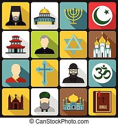 Religious symbol icons set, flat style - Religious symbol...