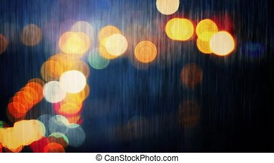 Rainy City Landscape Abstract - Evening cityscape abstract...