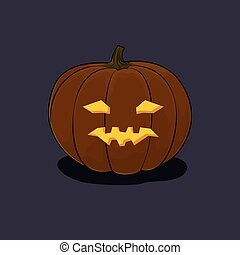 Halloween Vicious Pumpkin on Dark Background - Carved...
