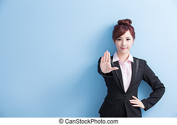 business woman do stop gesture - business woman do a stop...