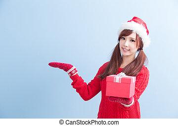 christmas beauty woman - beauty woamn take gift and show...