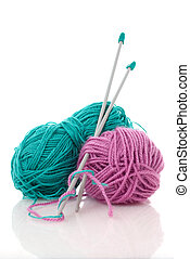 Blue and pink knitting wool - Balls of green and pink...