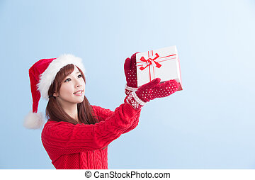 christmas beauty woman - beauty woamn take gift and show...