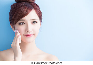 beauty woman make up - beauty skin care woman smile and make...