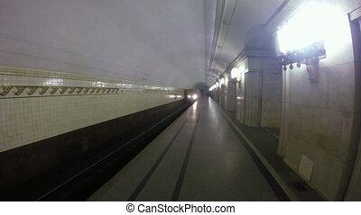The train arrives at the station of the Moscow metro