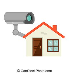 security camera system and house icon. vector illustration