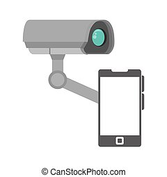 security camera system and smartphone device icon. vector...