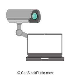 security camera system and laptop computer icon. vector...