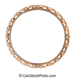 Antique golden mirror isolated on white background
