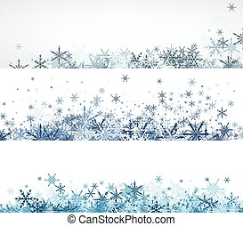 Winter banners set with blue snowflakes. - White winter...