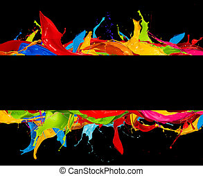 abstract color splashes stripes on black - abstract color...