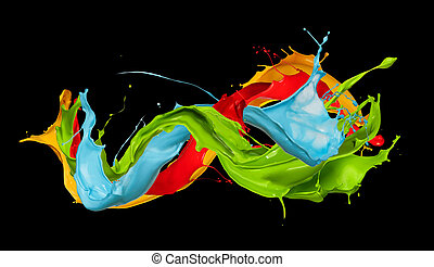 abstract color splashes on black background - abstract color...