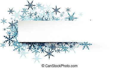 Winter banner with blue snowflakes. - White winter banner...