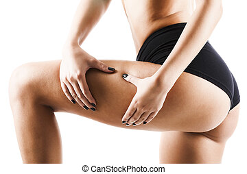 Female applying cosmetic cream from cellulite on leg -...
