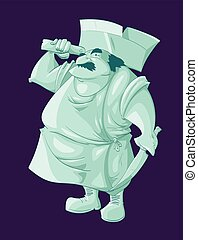 Cartoon ghost butler - Colorful vector illustration of a...