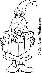 santa and big gift coloring book