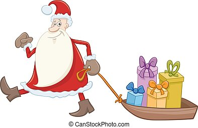 santa claus with gifts on sledge - Cartoon Illustration of...