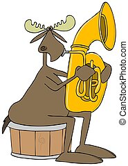 Moose playing a tuba - Illustration of a bull moose sitting...