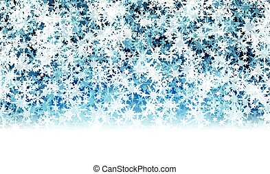Blue winter background with snowflakes. - Blue winter...