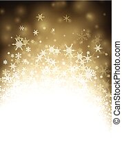 Golden winter background with snowflakes. - Golden winter...