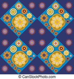 Abstract floral pattern. - Flower tiles digital background...