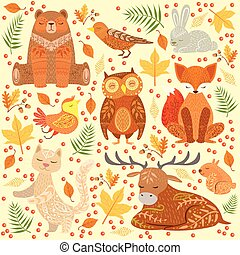 Forest Animals Covered In Ornamental Patterns Illustration