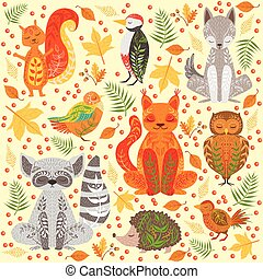 Forest Animals Covered In Crative Ornaments Illustration