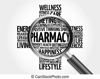 Pharmacy word cloud with magnifying glass, health cross...