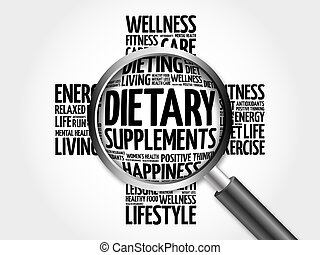 Dietary Supplements word cloud with magnifying glass, health...