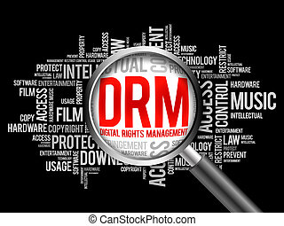 DRM - Digital Rights Management word cloud with magnifying...
