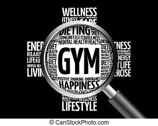 GYM word cloud with magnifying glass, health concept 3D...