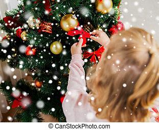 árbol, Arriba, niño, cierre, Decorar, navidad