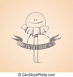 Sweet shop, candy store confectionery vector logo
