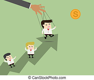 Businessman leader puppet on ropes to target and teamwork go...