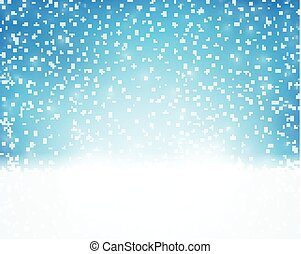 Blue white holiday, winter, Christmas card with snowfall