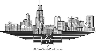 Cityscape and skyline of Chicago, Illinois. Architectural...