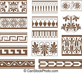 Set of ornamental pattern elements in Etruscan style
