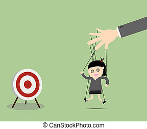 Businesswomen puppet on ropes to target Business manipulate...