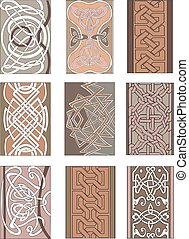 Set of vertical knot ornamental patterns